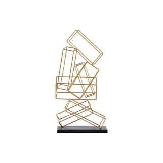 Urban Trends Collection Coated Gold-finished Metal Cascading Rectangular Prisms Sculpture on Square Base
