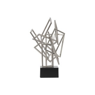 Cascading Rectangles Silver Metal Coated Finish Sculpture on a Square Base