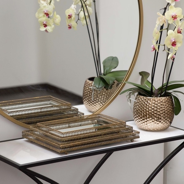 UTC25413: Metal Rectangular Mirror/Tray with Parallel Lines Pierced Metal Sides Set of Three Tarnished Finish Gold