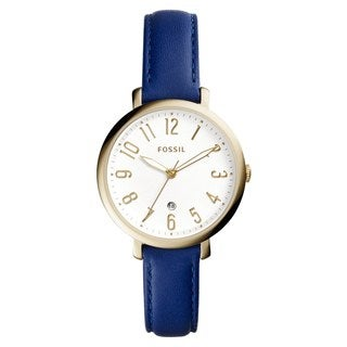 Fossil Women's ES4088 Jacqueline Analog White Dial Indigo Leather Watch