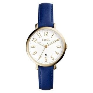Fossil Women's ES4088 Jacqueline Analog White Dial Indigo Leather Watch