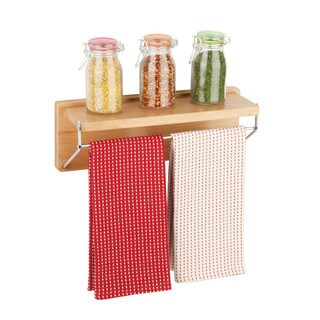 Honey Can Do Wall shelf w/ chrome bar, bamboo