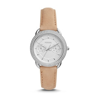 Fossil Women's ES4053 Tailor Multi-Function White Dial Light Brown Leather Watch