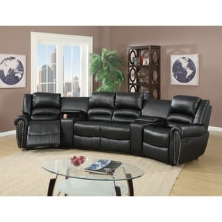 Auvinya Motional Home Theater Bonded Leather Sectional (Option: Black)
