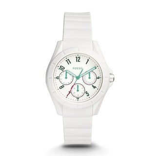 Fossil Women's ES4064 Poptastic Sport Multi-Function White Dial White Silicone Watch