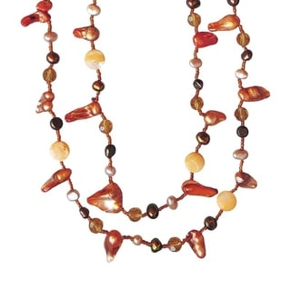 Open-style 45-inch Orange Pearl Necklace