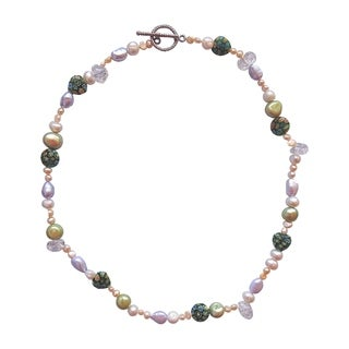 Multicolored Pearl, Crystal, and Bead Necklace