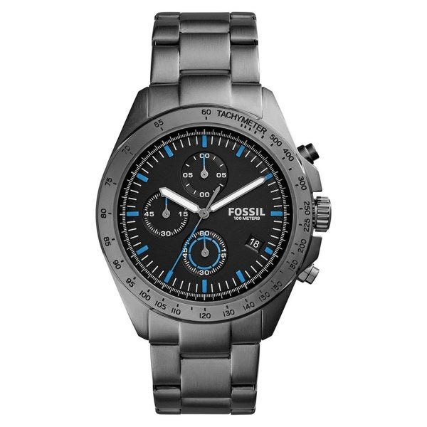 Fossil Men's  Sport 54 Chronograph Black Dial Grey Stainless Steel Bracelet Watch -  CH3047