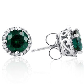 Annello 14k White Gold Green Moissanite and 1/4ct TDW Diamond Detachable Halo Stud Earrings (G-H, I1-I2)