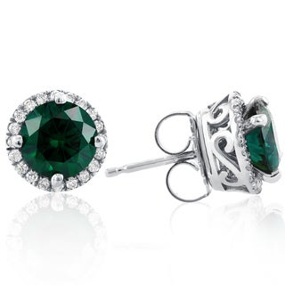 Annello by Kobelli 14k White Gold Green Moissanite and 1/4ct TDW Diamond Detachable Halo Stud Earrin