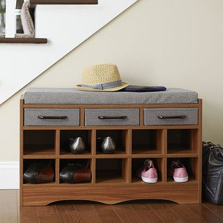 Household Essentials Honey Maple 10 Shoe Storage Bench