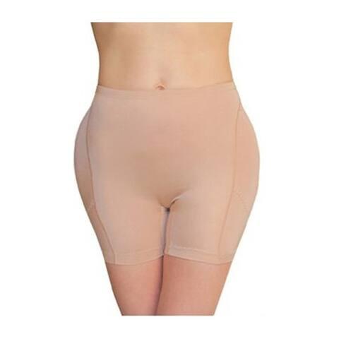 Women's Nude/Black Nylon/Spandex Boyshort Foam-padded Hip Booster
