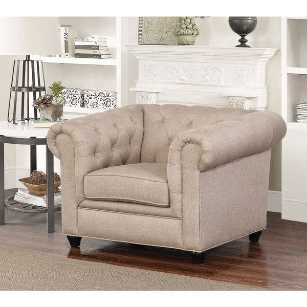 Shop Abbyson Tuscan Beige Chesterfield Fabric 2 Piece Living