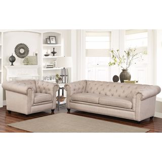 ABBYSON LIVING Tuscan Taupe Fabric Sofa and Armchair Set