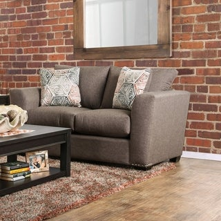 Furniture of America Brizette Contemporary Brown Linen Upholstered Loveseat