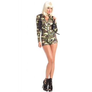 Be Wicked Women's Commander Cuitie Olive/Black Polyester/Spandex 2-piece Costume