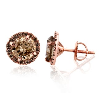 Annello 18k Rose Gold 2 4/5ct TDW Champagne Diamond Halo Stud Earrings