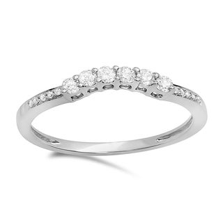 Elora 14k Gold 1/4ct TDW Round Diamond Anniversary Wedding Stackable Band Guard Ring (H-I, I1-I2)