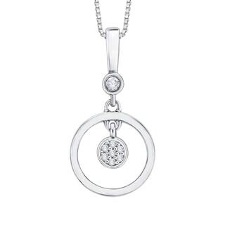 10k White Gold Diamond Accent Circle Pendant