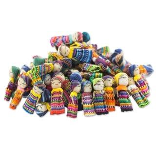 Handmade Cotton Worry Doll Clan Figurines, Set of 100 (Guatemala)