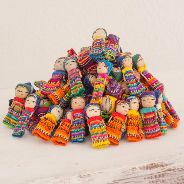 Set of 100 Handmade Cotton 'The Worry Doll Clan' Figurines (Guatemala)