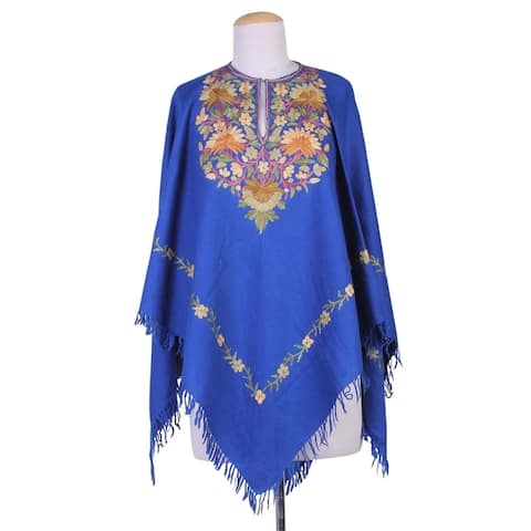Handmade Wool Majestic Garden Embroidered Poncho (India)