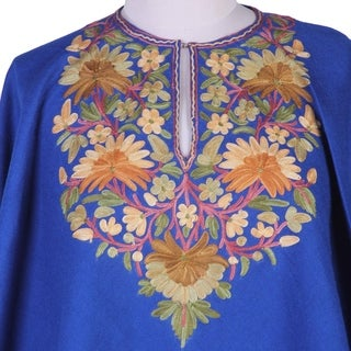 Handcrafted Wool 'Majestic Garden' Embroidered Poncho (India)