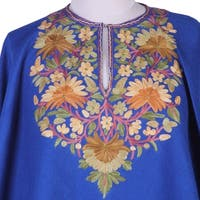 Handmade Wool 'Majestic Garden' Embroidered Poncho (India)