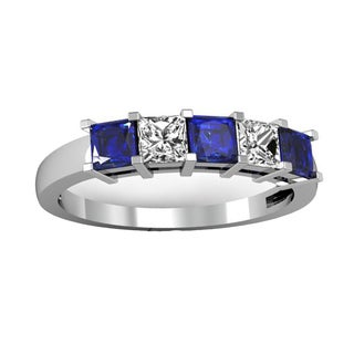 Elora 14k White Gold 1ct TW Princess-cut Blue Sapphire and Diamond 5-stone Bridal Band Anniversary Ring (H