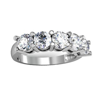 Elora 14k Gold 2ct TDW Round White Diamond 5-stone Bridal Wedding Band Anniversary Ring (H-I, I1-I2)