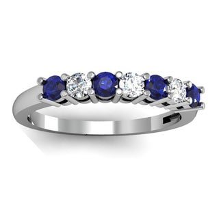 10k White Gold 1/2ct TW Round Blue Sapphire and Diamond 7-stone Bridal Wedding Band Anniversary Ring (H-I, I1-I2)