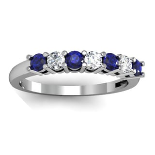 Elora 10k White Gold 1/2ct TW Round Blue Sapphire and Diamond 7-stone Bridal Wedding Band Anniversary Ring