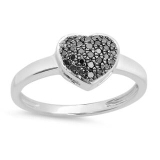 Elora 10k White Gold 1/5ct TDW Round Black Diamond Bridal Heart Shaped Engagement Promise Ring