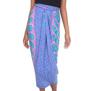 Handcrafted Rayon Batik 'Pink Sunburst' Sarong (Indonesia)