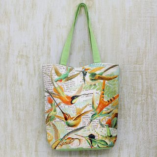 Handcrafted Cotton 'A Story of Birds' Tote Handbag (India)