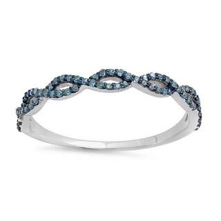 Elora 10k White Gold 1/5ct TDW Round Blue Diamond Swirl Anniversary Wedding Band Stackable Ring (I2-I3)