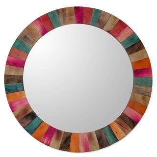 Handmade Mango Wood Festive Holi Mirror (India) - Multi