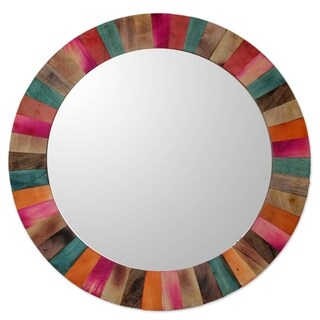 Handmade Mango Wood 'Festive Holi' Mirror (India) - Multi
