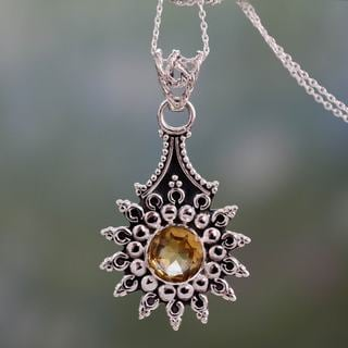 Handcrafted Sterling Silver 'Star of Jaipur' Citrine Necklace (India)