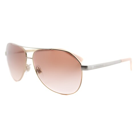 Dolce and Gabbana DG 2144 129313 Pink Gold Metal Aviator Brown Gradient Lens Sunglasses