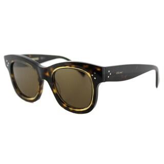 Celine CL 41397 T7F Helen Dark Havana Honey Plastic Square Brown Lens Sunglasses