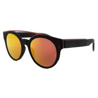 Givenchy GV 7017 VEY Black Red Plastic Round Orange Mirror Lens Sunglasses