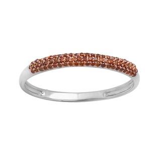 10k White Gold 1/5ct TDW Round Red Diamond Bridal Anniversary Wedding Band Stackable Ring (I2-I3)