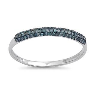 10k White Gold 1/5ct TDW Round Blue Diamond Bridal Anniversary Wedding Band Stackable Ring (I2-I3)