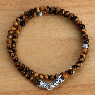 Handcrafted Sterling Silver 'Golden Jungle Cat' Tiger's Eye Bracelet (Indonesia)