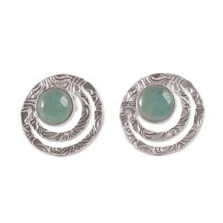 Handmade Sterling Silver 'Green Vibrations' Opal Earrings (Peru)