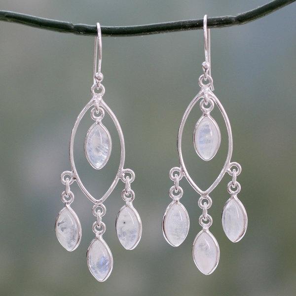 Handmade Sterling Silver X27 Luminous Dew Rainbow Moonstone Chandelier Earrings