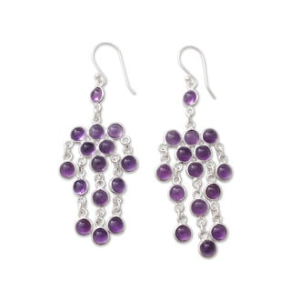 Handcrafted Sterling Silver 'Ecstatic Purple' Chandelier Amethyst Earrings (India)