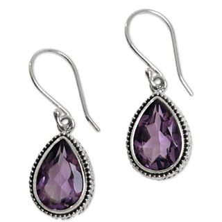 Handcrafted Sterling Silver 'Sparkling Dew' Amethyst Earrings (Indonesia)