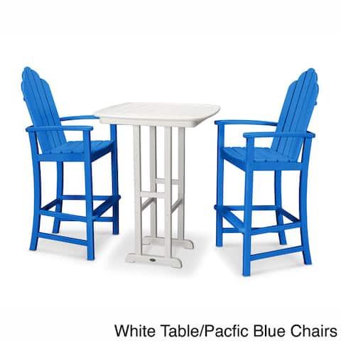 POLYWOOD® Kahala 3-piece Outdoor Adirondack Chair Bar Set with Table